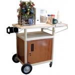 "Luxor 3-Shelf Serving Cart with Locking Cabinet: Gray, 24"" W x 18"" D x 33"" H"
