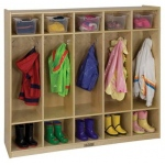 ECR4Kids Birch 5-Section Straight Coat Locker