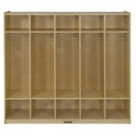 ECR4Kids Birch 5-Section Coat Locker with Bench