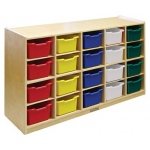 Early Childhood 20 Tray Storage Cabinet with 20 Assorted Bins: Birch