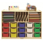 Early Childhood Multi-Section Storage Cab with 15 Assorted Bins